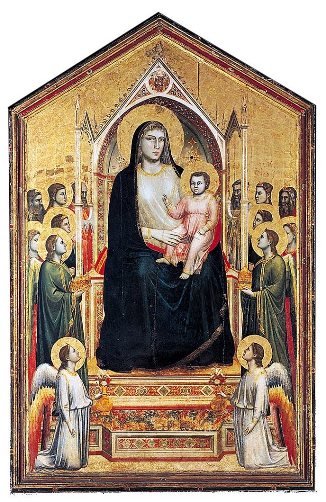 Ognissanti Madonna, (c. 1310) Tempera on wood, 325 by 204 centimetres (128 by 80 inches) Uffizi, Florence