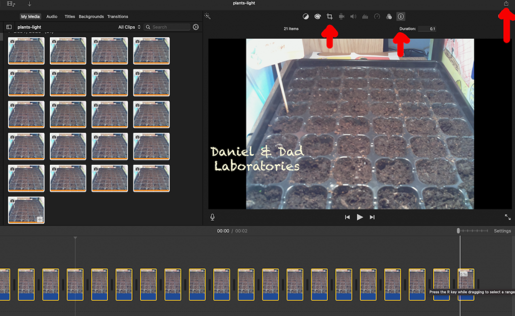 iMovie timelapse